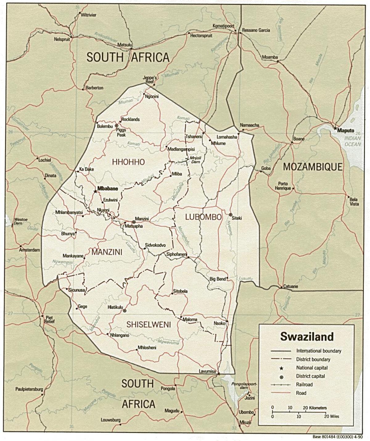 Swaziland Graenseposter Kort Kort Over Swaziland Der Viser